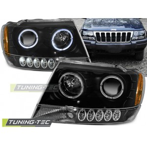 Přední čirá světla Jeep Grand Cherokee 99-05 černá