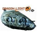 Přední světla DEVIL EYES Fiat Grande Punto 05-08 chrom, LED blinkr