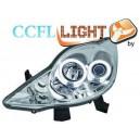 Přední čirá světla Peugeot 107 05-11 CCFL, chrom