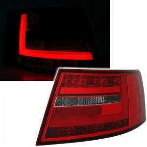 Zadní čirá optika Audi A6 C6 4F 04-08 LIGHT BAR LED, červená/krystal