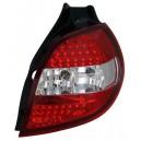 Zadní čirá světla Renault Clio 05-09 - LED, červená/krystal