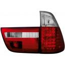 Zadní čirá světla BMW X5 00-02 – LED, červená/krystal